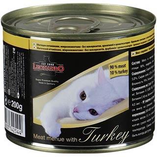 Leonardo корм для кошек с индейкой, банка  200 г