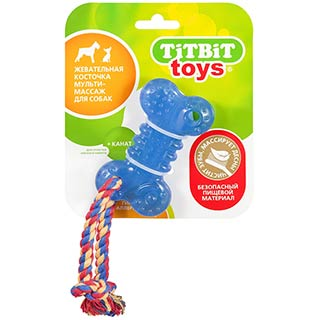 Игрушка TITBIT для собак, жевательная косточка  мульти-массаж, 10 см
