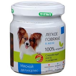 TITBIT легкое говяжье в желе, корм для собак, банка 100 г