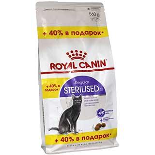 Royal Canin Sterilised корм для стерилизованных кошек, от 1 до 7 лет, уп. 0.4 + 0.16 кг