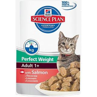 Hill's Perfect Weight корм для кошек, склонных к набору веса, с лососем, пауч 85 г