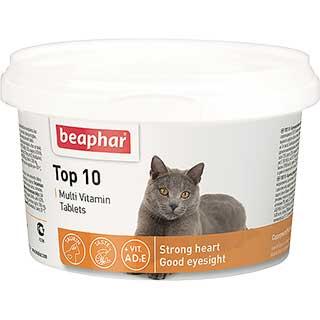 Beaphar Тор 10 Multi Vitamin мультивитамины для кошек,, уп. 180 таблеток