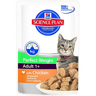 Hill's Perfect Weight корм для кошек, склонных к набору веса, с курицей, пауч 85 г