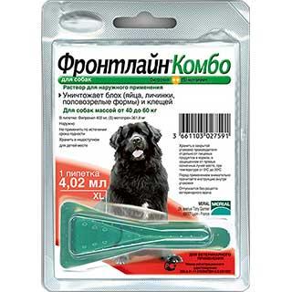 Фронтлайн Комбо, для собак 40-60 кг, капли на холку от блох (яйца, личинки, половозрелые формы) и кл