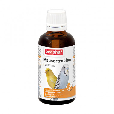 Beaphar Mausertropfen витамины для птиц в период линьки,, фл. 50 мл
